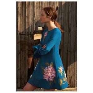 Anthropologie Hydrangea Floral Swing Dress